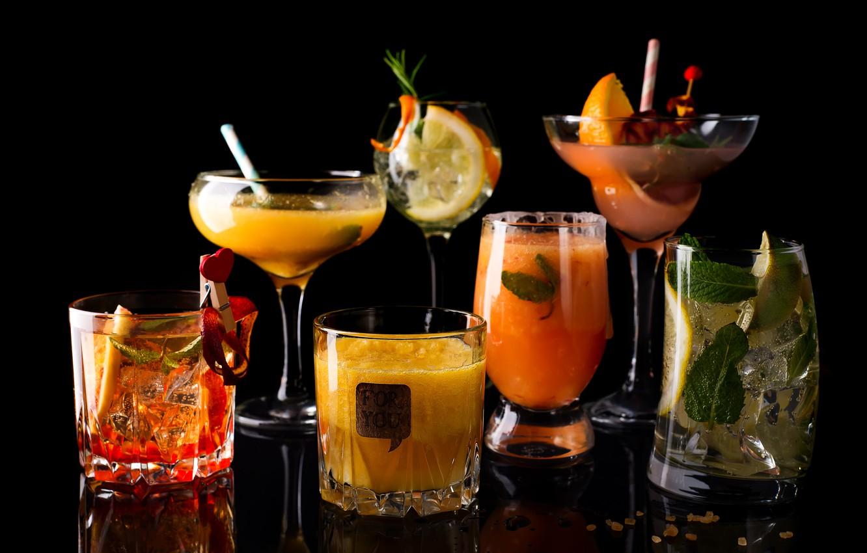 Photo wallpaper ice, lemon, orange, Cocktail, glasses, juice, drinks, slices