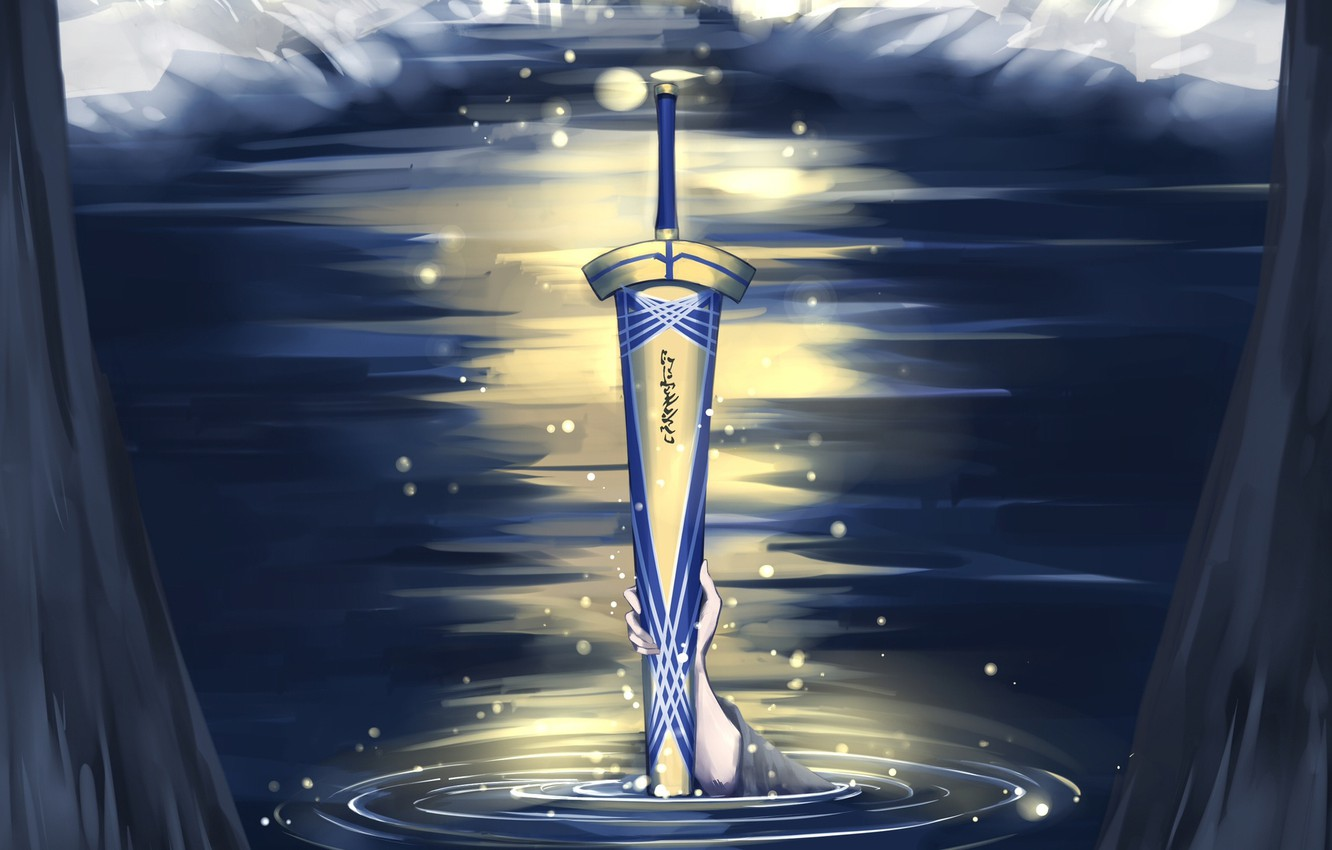 Photo wallpaper lake, hand, sword, Fate stay night, Excalibur, Fate / Stay Night
