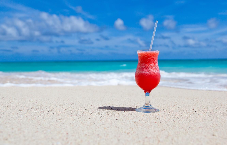 Photo wallpaper sand, beach, summer, the ocean, stay, cocktail