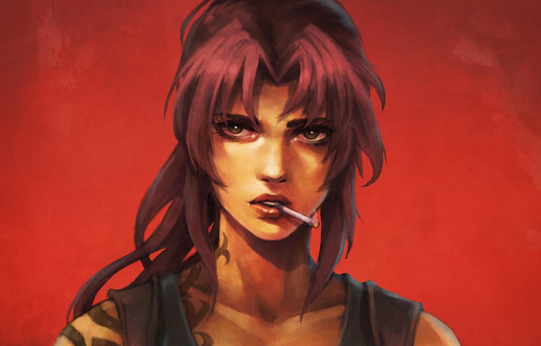 Photo wallpaper girl, tattoo, art, Revy, cigarette, black lagoon, anime