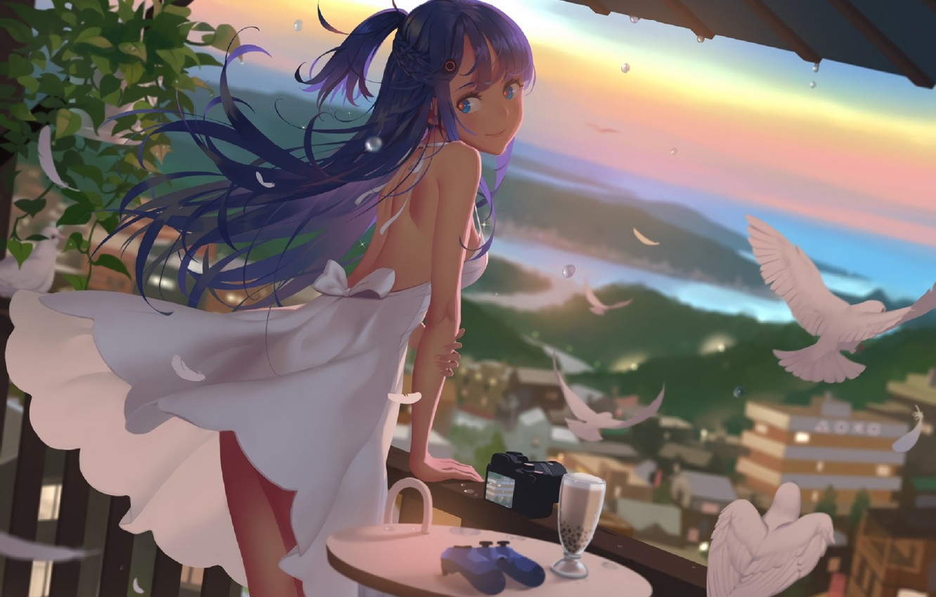 Photo wallpaper summer, the camera, girl, binoculars, the view from the top, terrace, white doves, white sundress, …