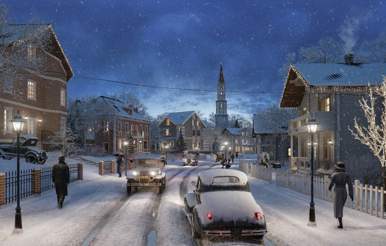 Photo wallpaper road, snow, people, street, On Christmas Eve