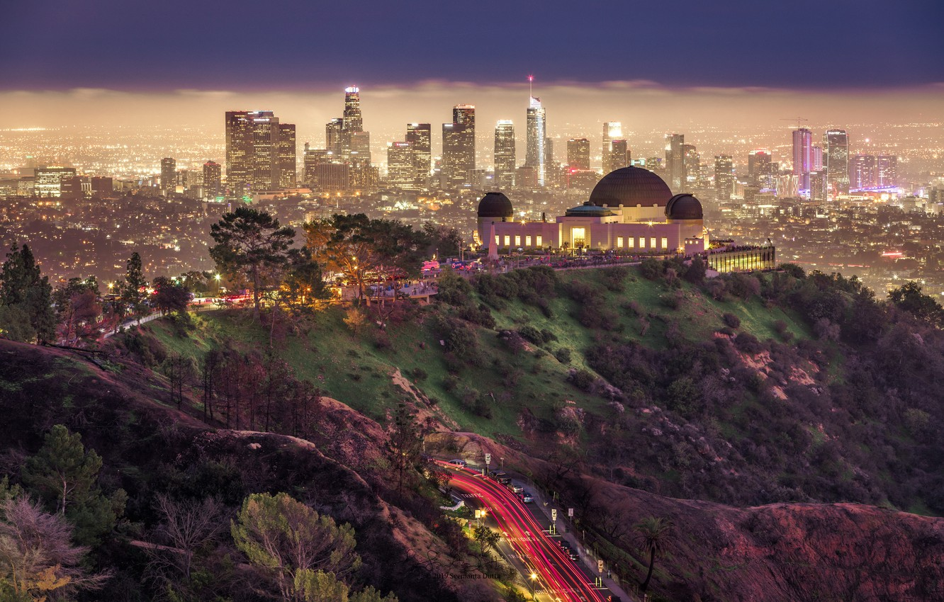 Photo wallpaper road, night, the city, Park, building, home, lighting, USA, Los Angeles, Griffith Park, Griffith Park