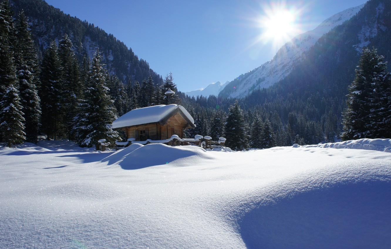 Photo wallpaper winter, the sun, rays, snow, trees, landscape, mountains, nature, house, ate, Alps, hut, forest