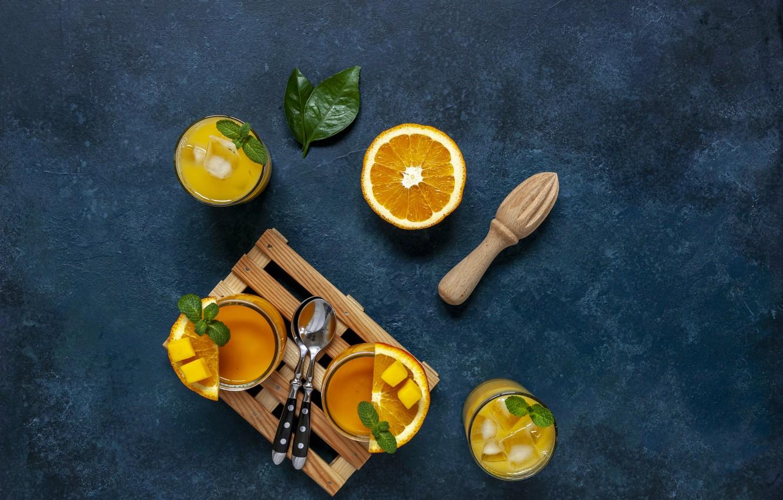 Photo wallpaper orange, juice, glasses, drink, mango, fresh