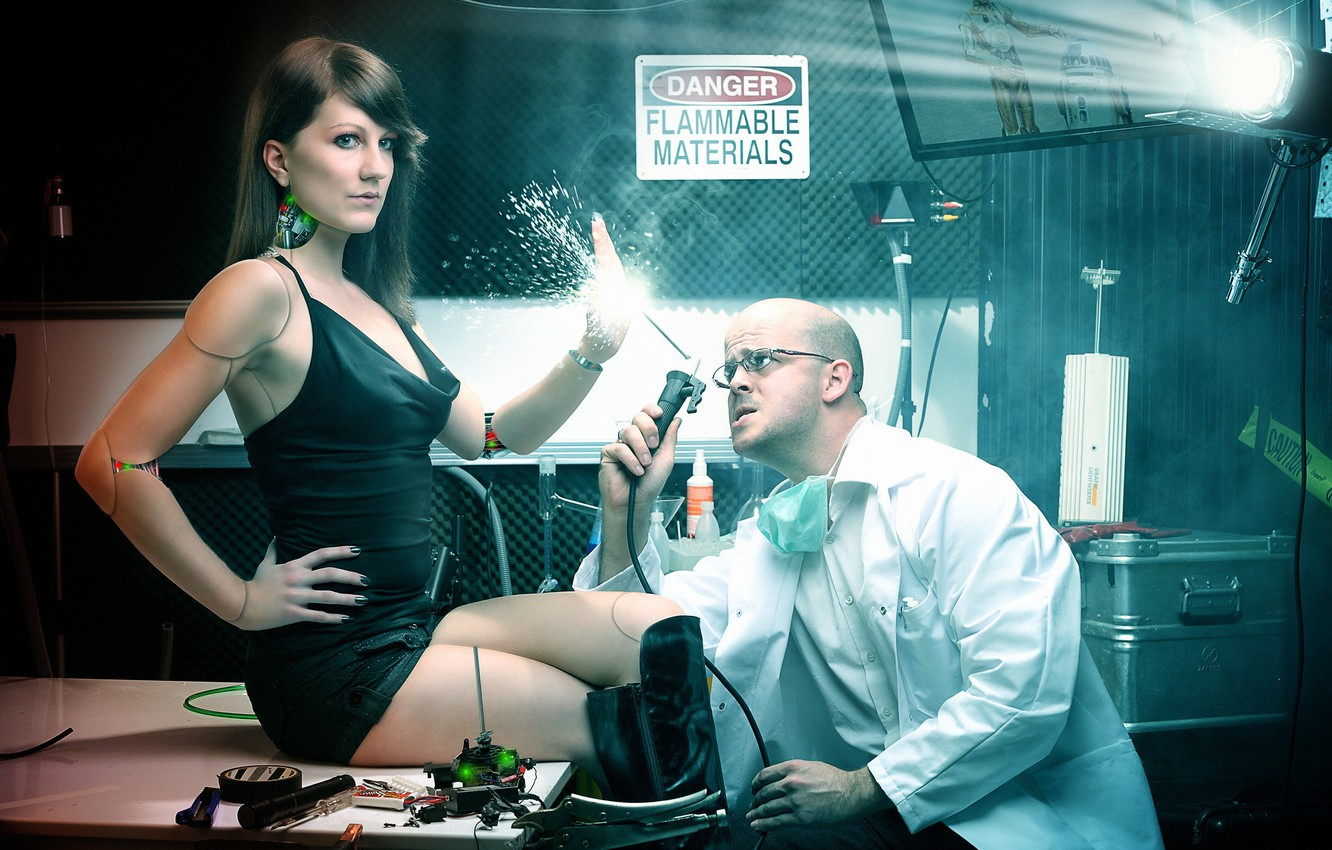 Photo wallpaper girl, photoshop, robot, the situation, Dr., cyborg, scientist, photoart