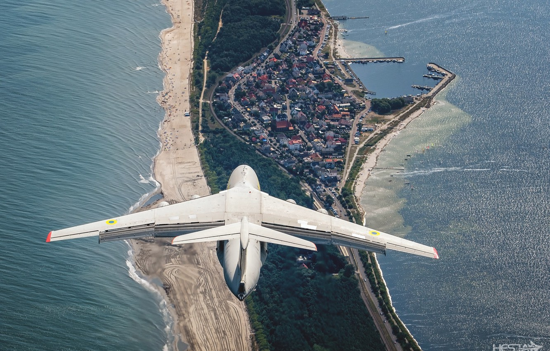 Photo wallpaper Sea, Beach, Braid, Ukraine, Wing, Military transport, Il-76MD, Ukrainian air force, Gdynia Aerobaltic 2019, HESJA …