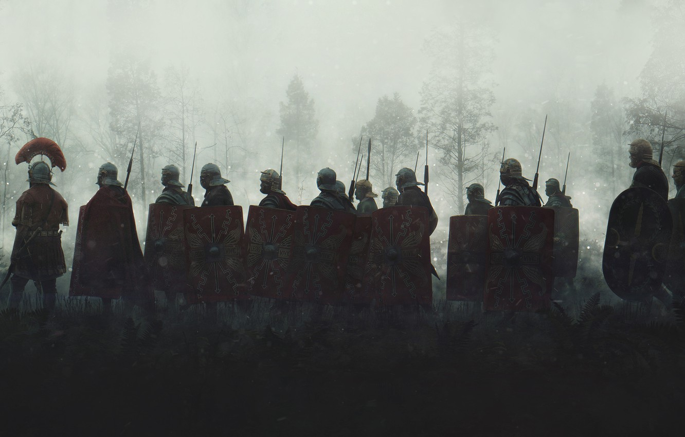 Photo wallpaper Fog, Morning, Soldiers, War, Legionaries, Shields, The Romans, Evgenij Kungur, by Evgenij Kungur, Legionnaires