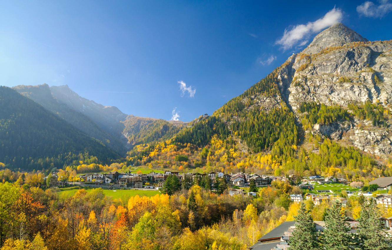 Photo wallpaper autumn, mountains, valley, Italy, Valle d'aosta, Курмайор