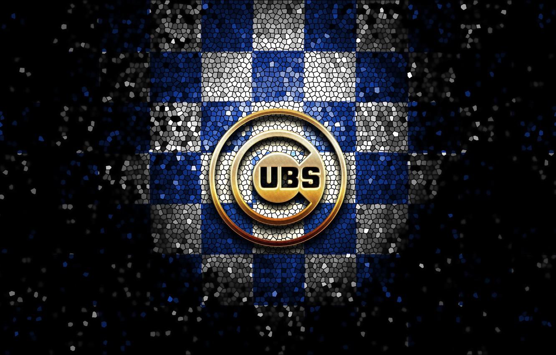 Photo wallpaper wallpaper, sport, logo, baseball, glitter, checkered, MLB, Chicago Cubs