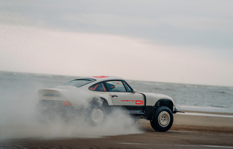 Photo wallpaper water, squirt, shore, 911, Porsche, pond, 964, AWD, Singer, twin turbo, 2020, 2021, Singer Vehicle …