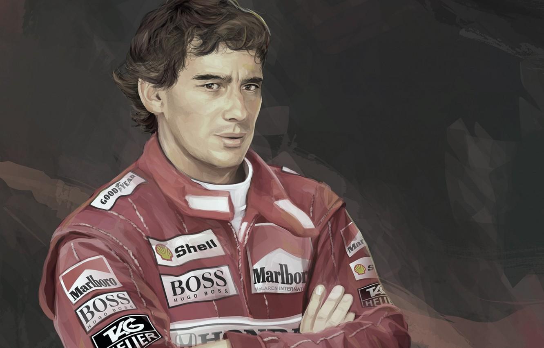 Photo wallpaper Figure, Sport, Ayrton Senna, Racing driver