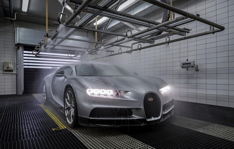 Photo wallpaper Bugatti, shower, Chiron
