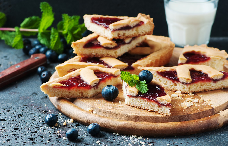Photo wallpaper berries, blueberries, pie, blueberry, Oxana Denezhkina
