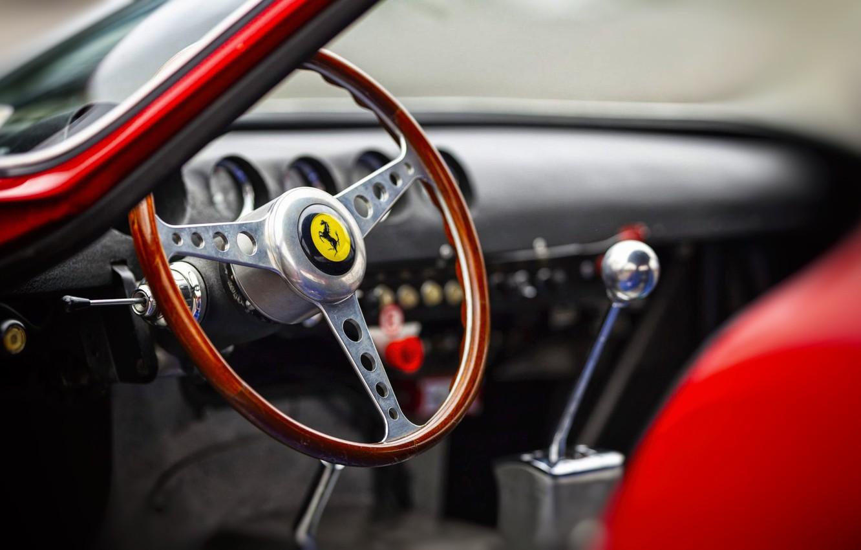 Photo wallpaper Auto, Retro, Machine, Ferrari, Salon, Logo, Ferrari, The wheel, Logo, GTO, 250, Ferrari 250 GTO, …