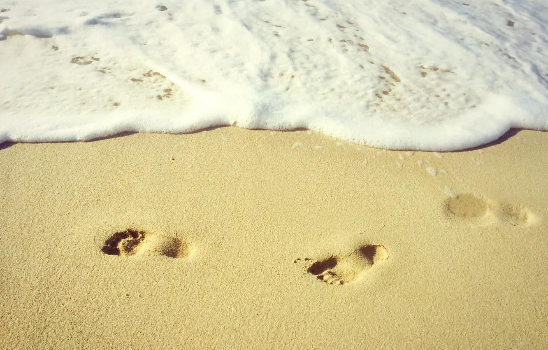 Photo wallpaper Beach, Sand, Sea, Mood, Traces