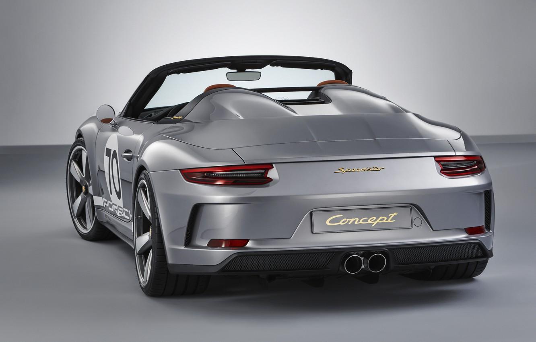 Photo wallpaper Porsche, rear view, 2018, gray-silver, 911 Speedster Concept