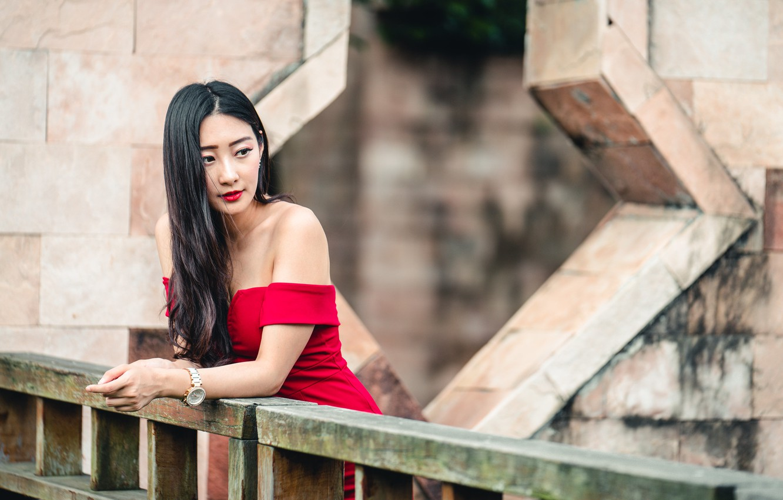 Photo wallpaper girl, face, style, model, dress