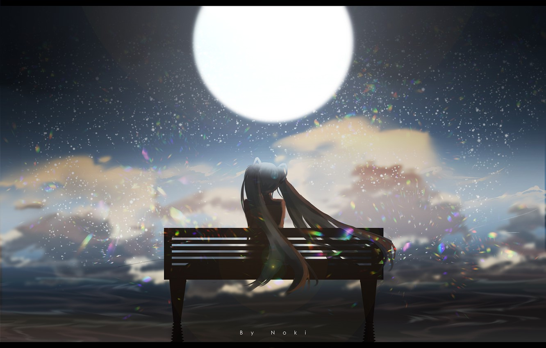 Photo wallpaper sea, girl, night, the moon, Vocaloid, Hatsune Miku