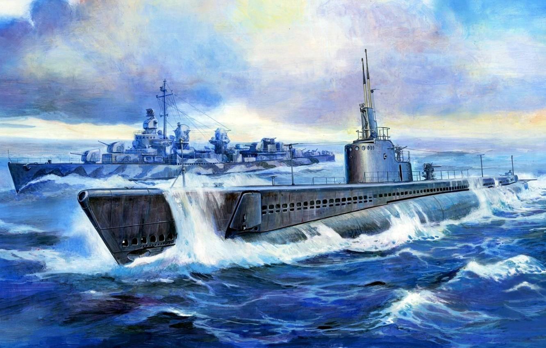 "Photo wallpaper USA, Cruising DPL, USS Gato (SS-212), American submarine, Submarine ""Gato"""