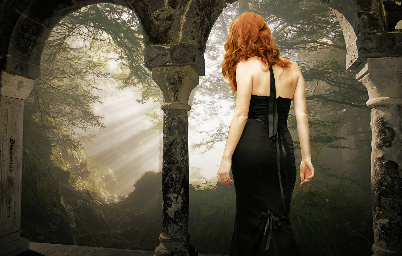 Photo wallpaper forest, girl, rays, light, branches, nature, pose, fog, style, castle, mood, Gothic, back, treatment, morning, …
