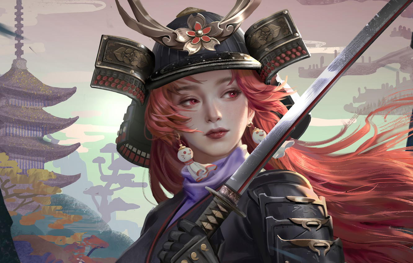 Photo wallpaper face, katana, armor, earrings, Japan, samurai, helmet, pagoda, red hair, red eyes, samurai, the girl-soldier, …