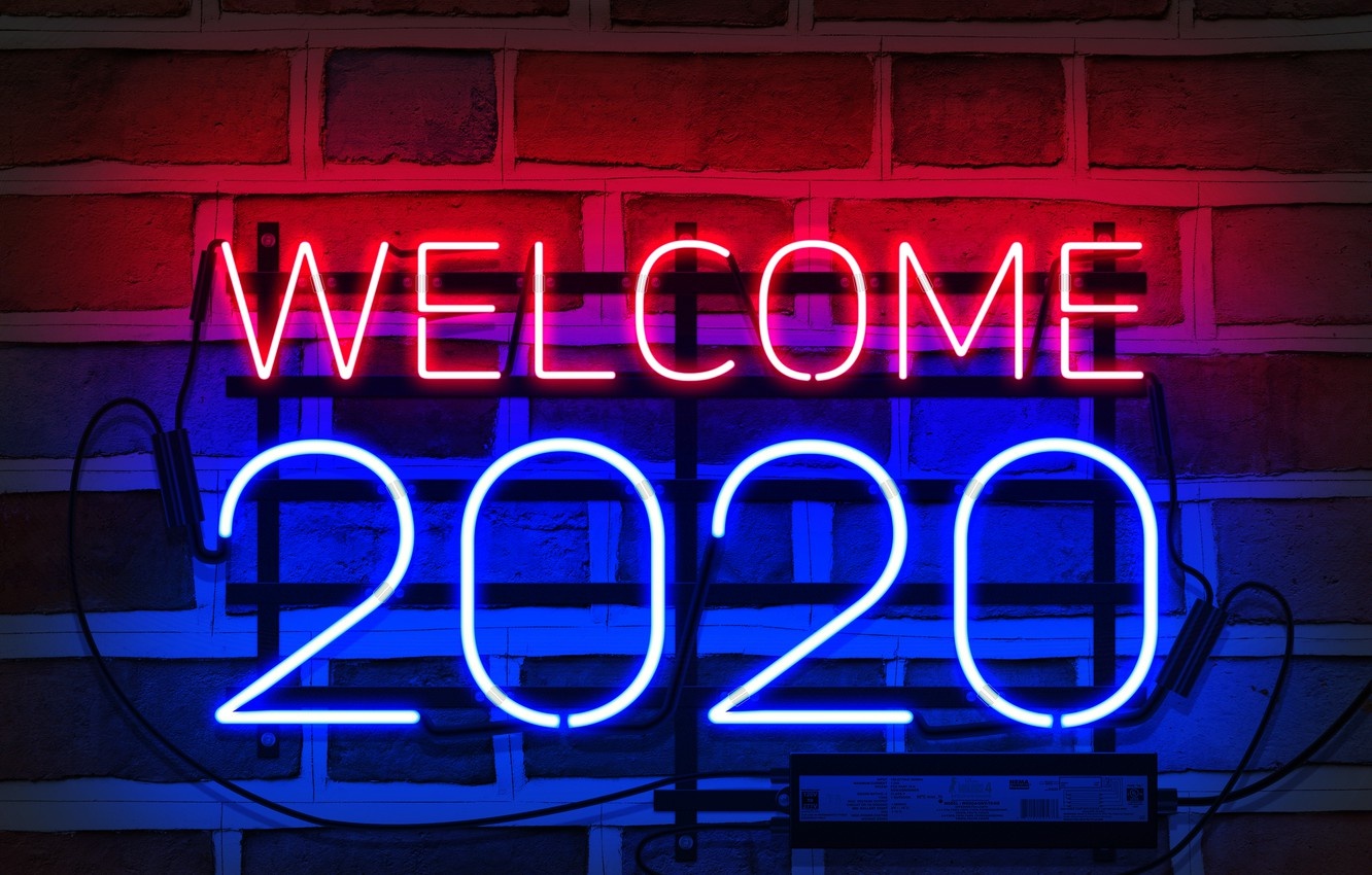 Wallpaper neon, happy new year, neon sign, my works, 2020