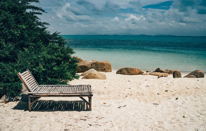 Photo wallpaper sand, sea, wave, beach, summer, the sky, chaise, summer, beach, sea, blue, seascape, sand, wave