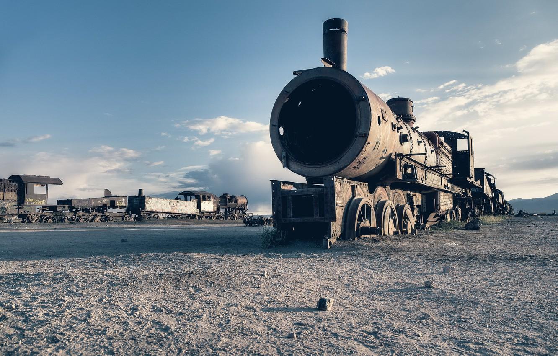 Photo wallpaper background, train, scrap