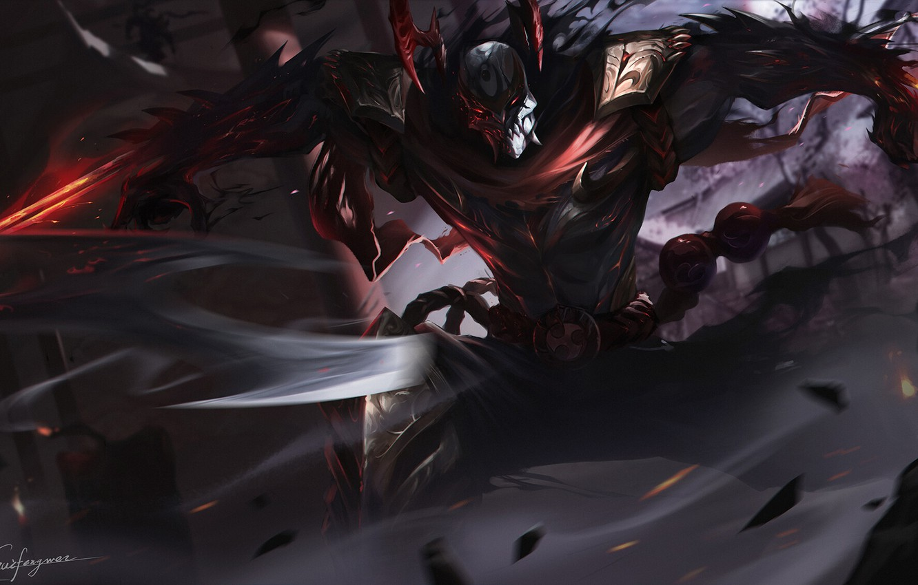 Wallpaper The Game League Of Legends Lol Character Zed Blood