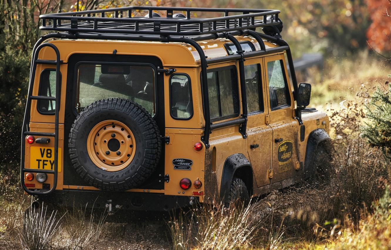 Photo wallpaper dirt, SUV, the trunk, Land Rover, Defender, V8, spare wheel, 5.0 L., 2021, Works V8 …