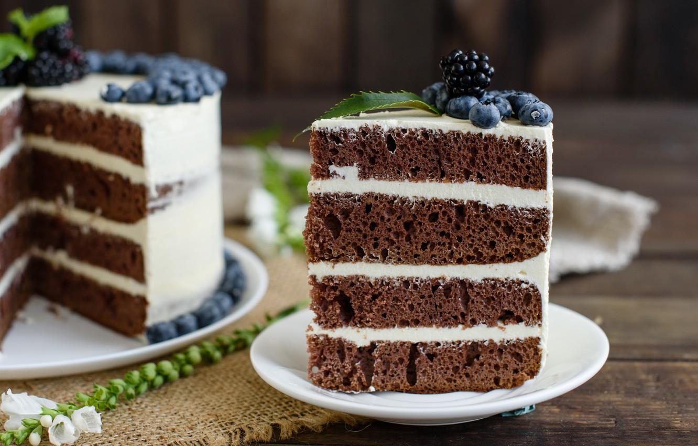 Photo wallpaper berries, blueberries, cake, cream, wood, BlackBerry, napkin, chocolate