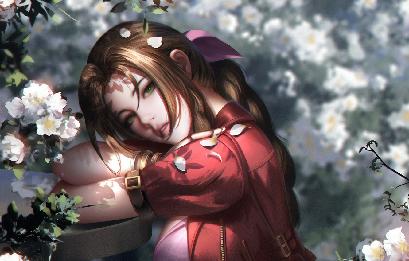 Photo wallpaper face, petals, red, Final Fantasy, red dress, Final Fantasy, flowering in the spring, light and …