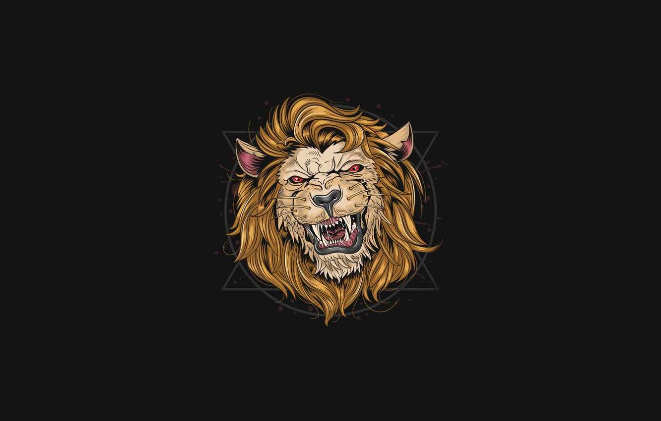 Wallpaper Minimalism Cat Style Mouth Leo Background Face Mane Art Art Style Cat Lion Background Minimalism Character Images For Desktop Section Minimalizm Download