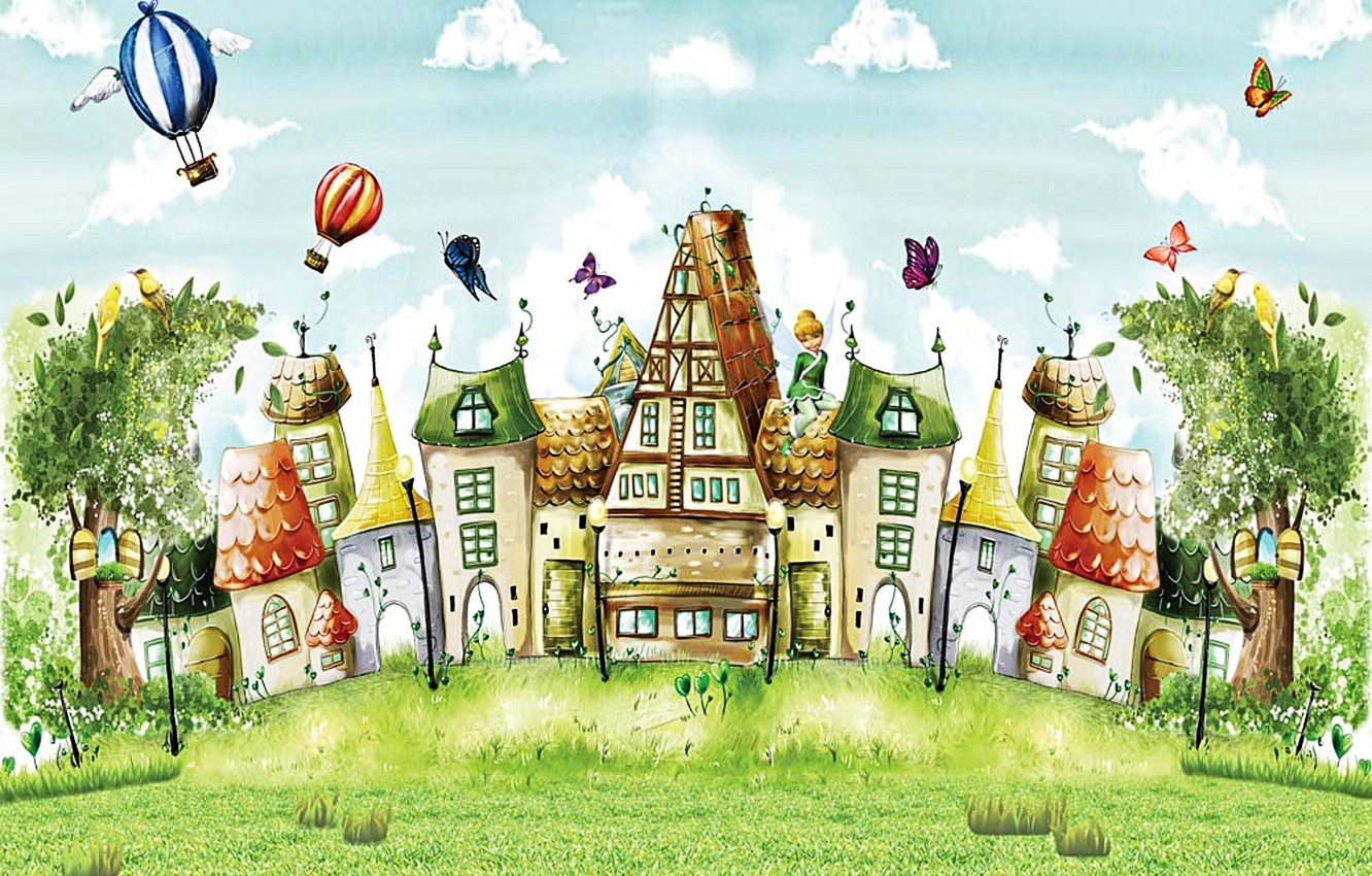 Photo wallpaper clouds, trees, butterfly, birds, balloons, figure, fairy, art, houses, fabulous city, summer fairy