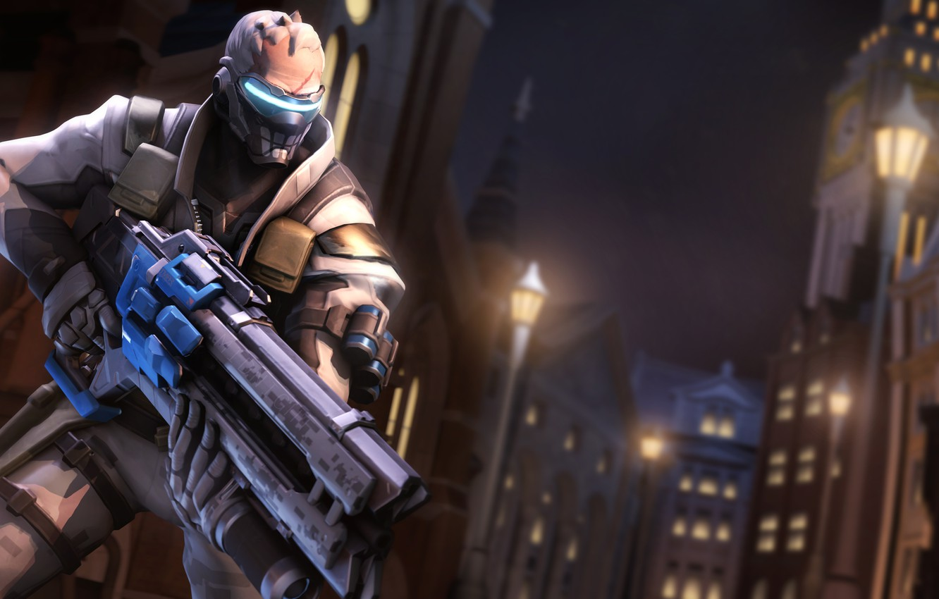 Wallpaper night, the city, rendering, mask, soldiers