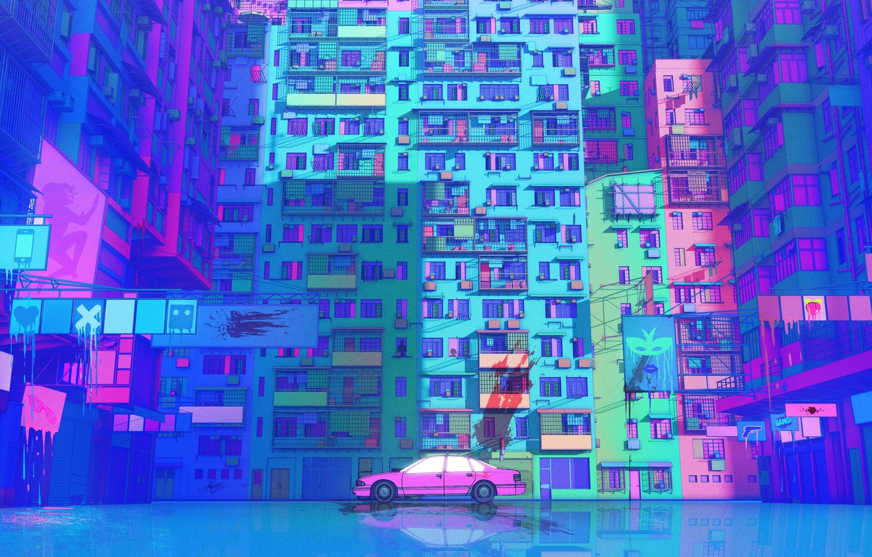 Photo wallpaper Figure, Future, Machine, Style, The building, Car, Art, Art, Illustration, Transport, Architecture, Cyberpunk, Nick Sullo, …