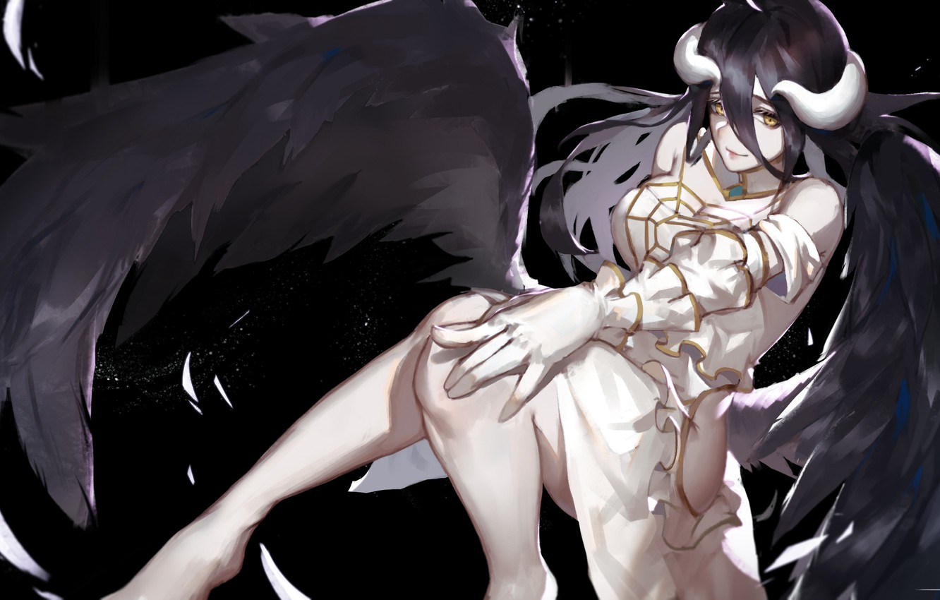 Photo wallpaper Look, Wings, Overlord, Anime, Brunette, Horns, Art, Art, Anime, Brunette, Succubus, The Lord, Lord, Sweetheart, …