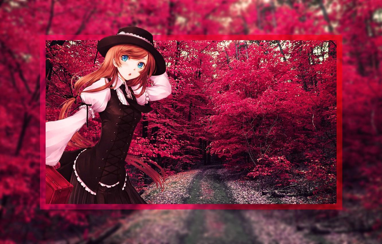 Photo wallpaper Red, Trees, Anime, Anime, Anime girl