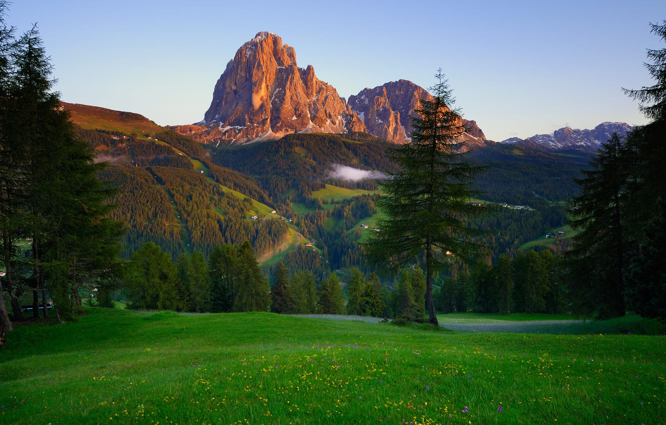 Photo wallpaper trees, landscape, sunset, mountains, nature, fog, meadow, forest, The Dolomites
