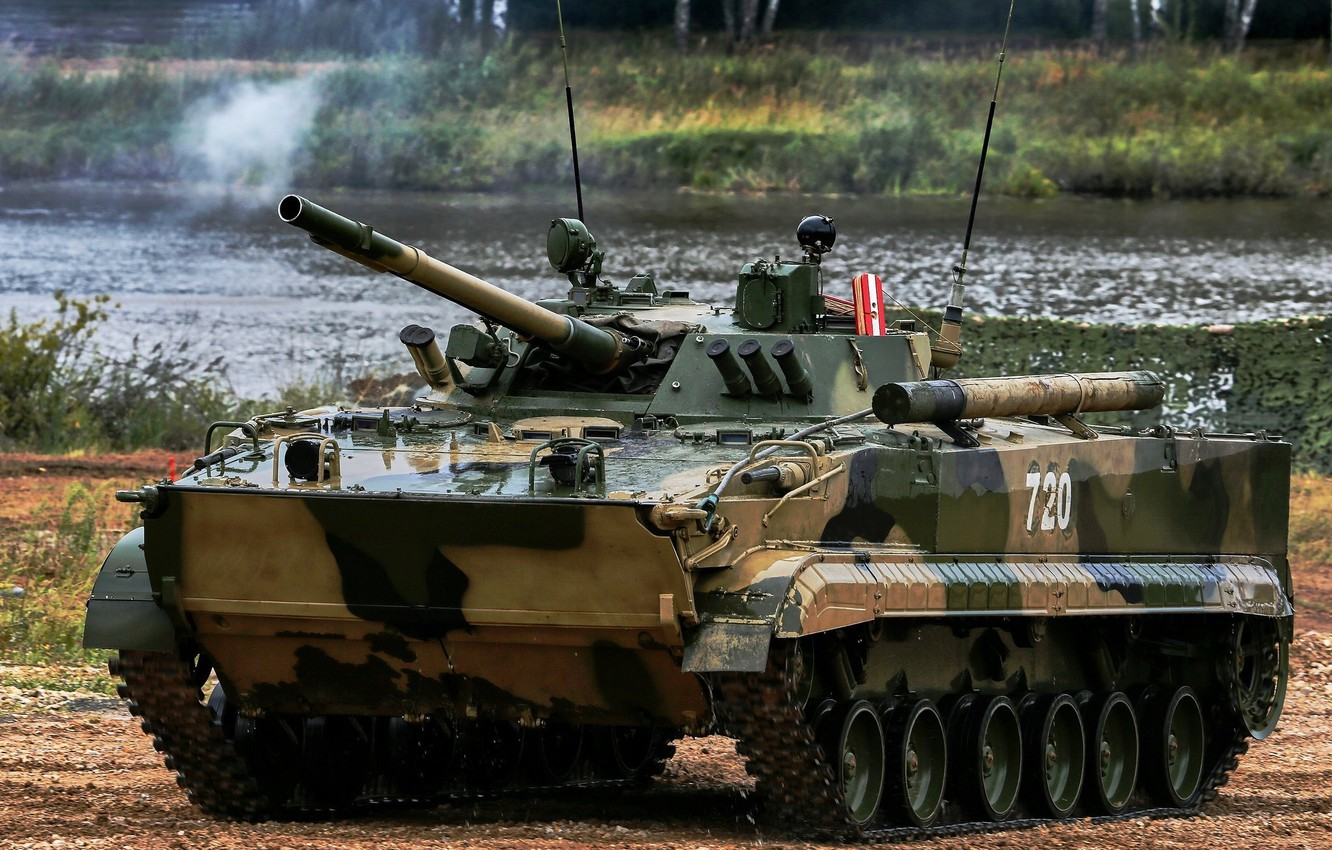 Photo wallpaper armor, camouflage, exercises, pond, BMP 3, The Russian Army