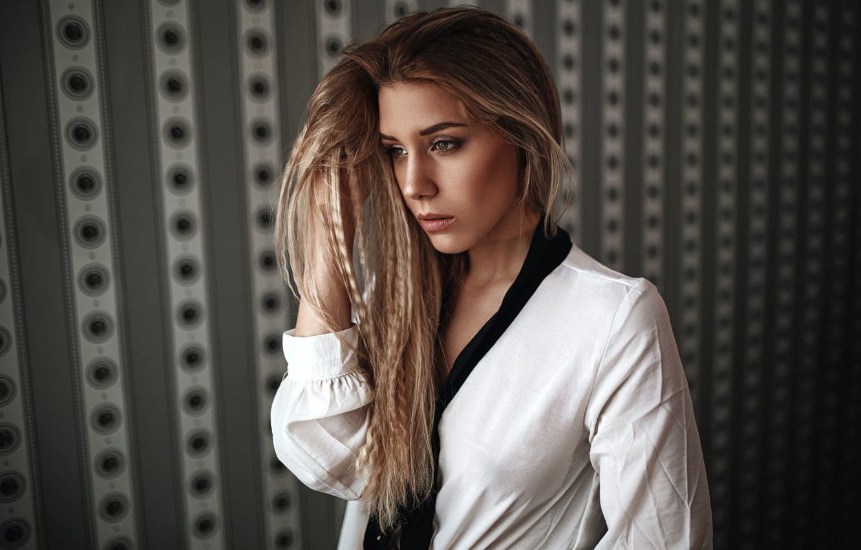 Photo wallpaper pose, background, wall, model, portrait, makeup, hairstyle, in white, bokeh, Rus, Heiko Klingele, Lea Jones