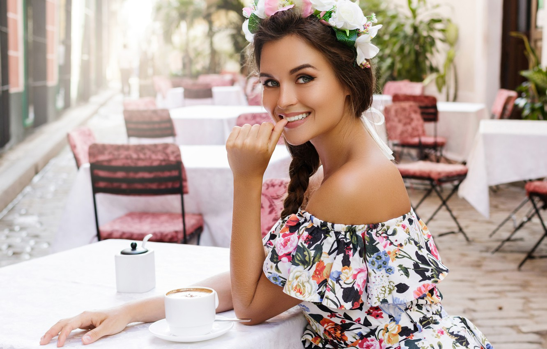 Photo wallpaper girl, smile, street, cafe, sitting, table, happy, BLACKDAY