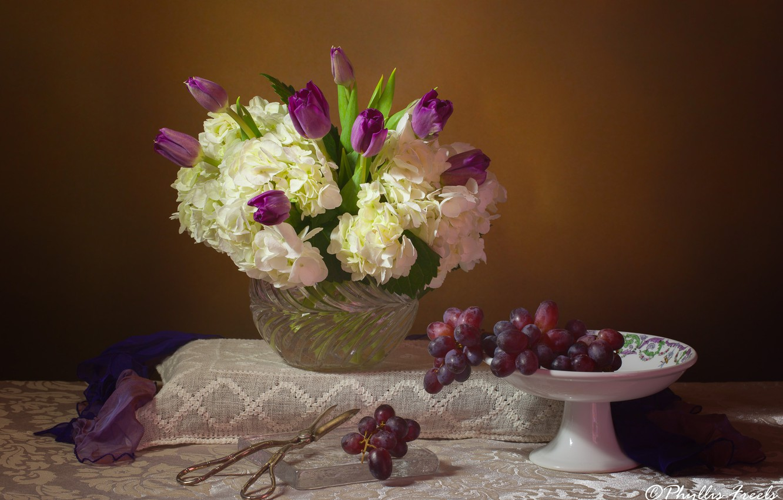Photo wallpaper flowers, style, bouquet, tulips, still life, scissors, hydrangea, Winograd