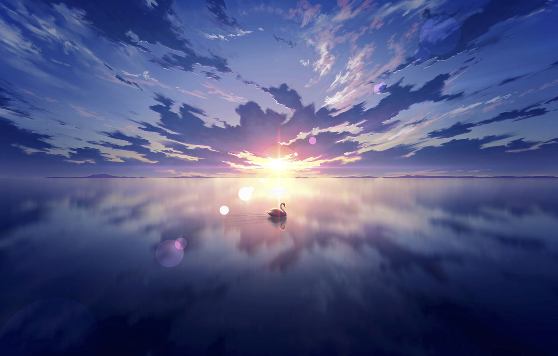 Photo wallpaper the sky, water, the sun, sunset, Swan