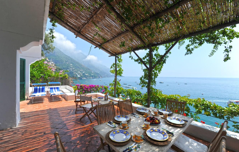 Photo wallpaper table, Villa, Paradise, balcony, Italy, italy, villa, paradise, table, balcony, campania, the Amalfi coast, amalfi …