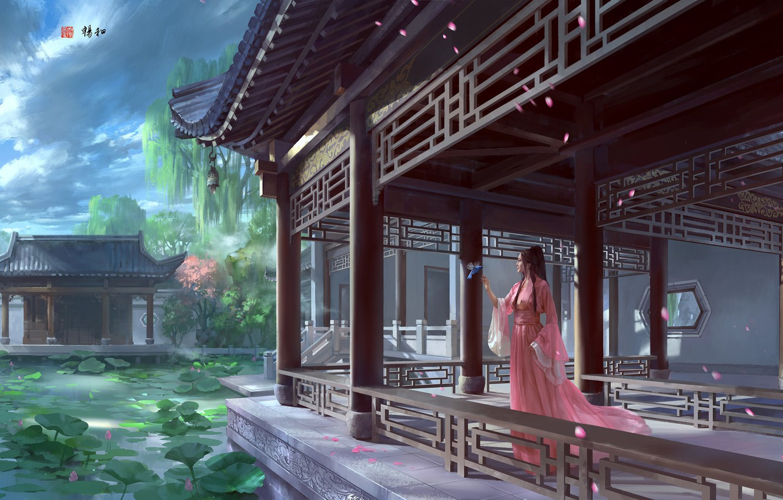 Photo wallpaper lake, fantasy, art, Lotus, Princess, Palace, zhong wenhao, Crisp, the favorable wind and smooth.