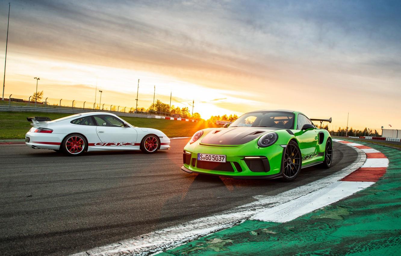 Photo wallpaper sunset, 911, Porsche, pair, 2018, GT3 RS, Weissach Package