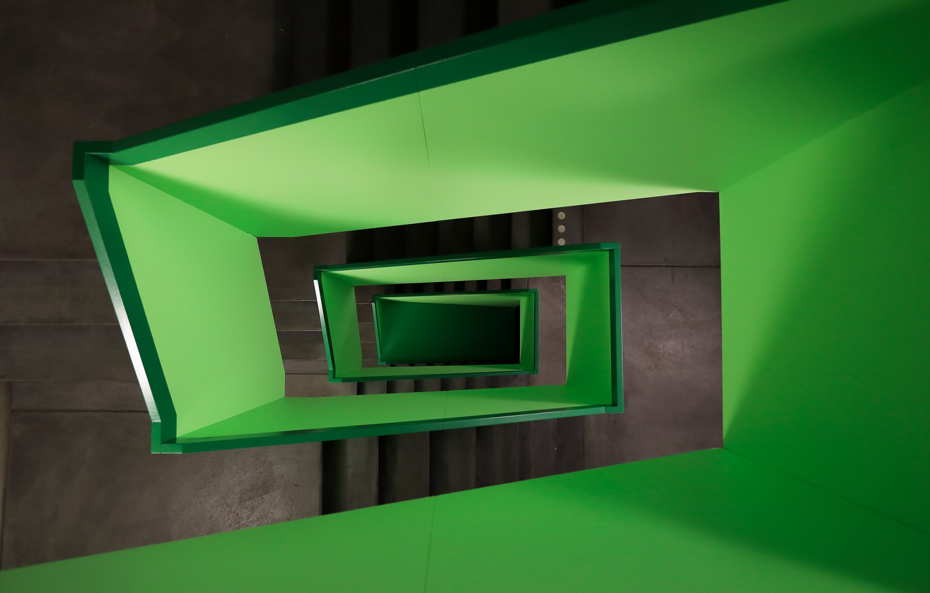 Photo wallpaper green, staircase, switzerland, zurich, pascal meier, lime width