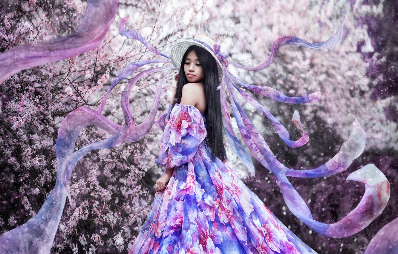 Photo wallpaper flowers, Girl, hat, dress, Asian, Maria Lipina